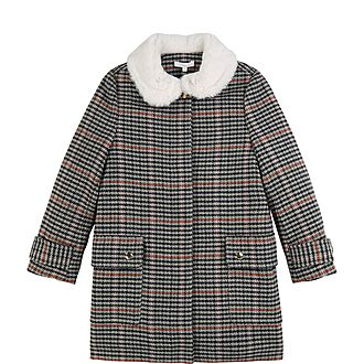 Faux Fur Collared Check Coat