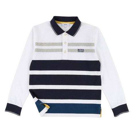 Long Sleeve Stripe Polo Shirt, ${color}