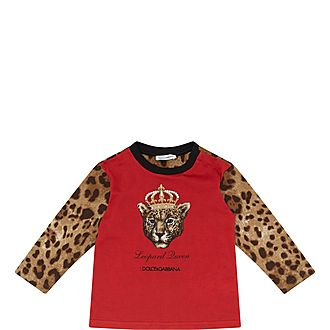 Long Sleeve Crown Leopard Head T-Shirt