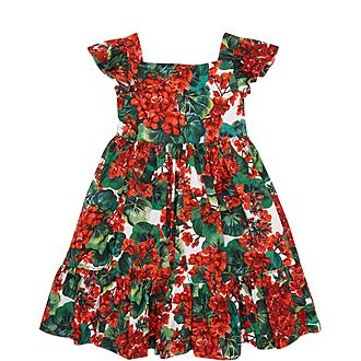 Girls Floral Poplin Dress