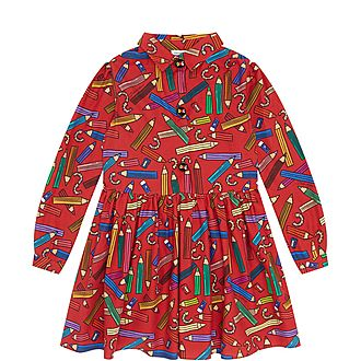 Girls Pencil Print Shirt Dress