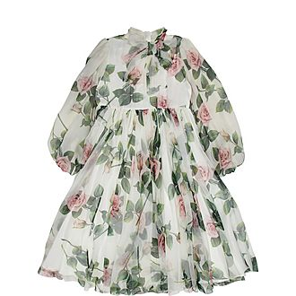 Tropical Rose Print Chiffon Dress