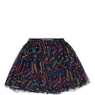 Pencil Pattern Tulle Skirt