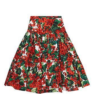 Girls Floral Poplin Skirt