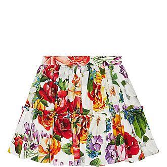 Floral Print Ruffle Skirt