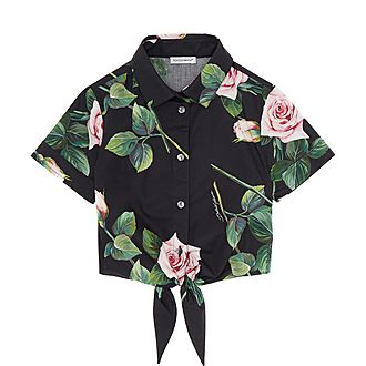 Rose Print Tie-Up Shirt