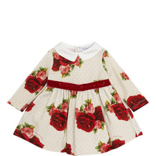 Long Sleeve Rose Print Dress Baby