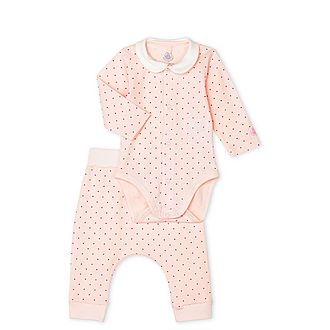 Two-Piece Polka Dot Print Bodysuit and Bottoms Set
