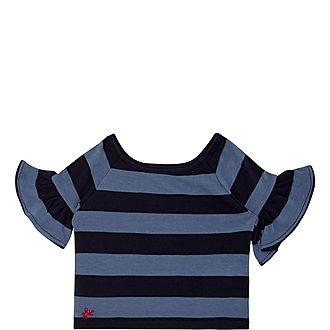 Ruffle Sleeve Stripe T-Shirt
