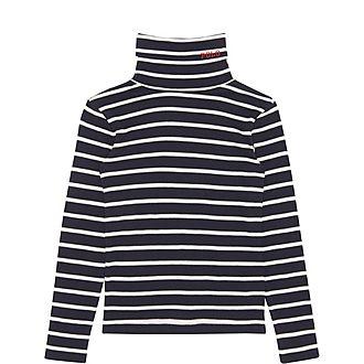 Stripe Polo Neck T-Shirt