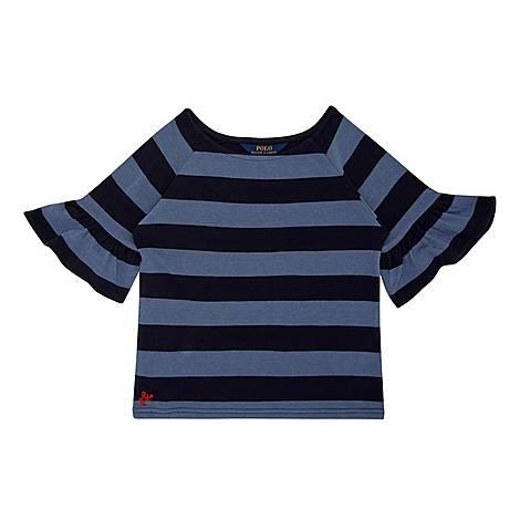 Ruffle Sleeve Stripe T-Shirt, ${color}