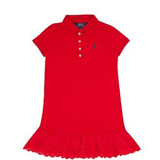 Eyelet Stretch Frill Polo Dress
