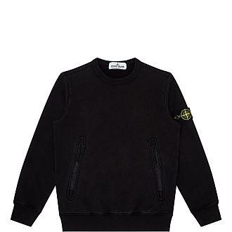Zip Pocket Crew Neck Sweatshirt