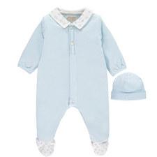 Nyles Star Print Rompersuit & Hat Set Baby