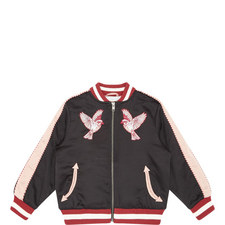 Embroidered Bird Bomber Jacket