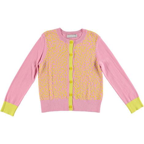 Dot Colour-Block Cardigan, ${color}