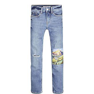 Slim Photo Print Jeans