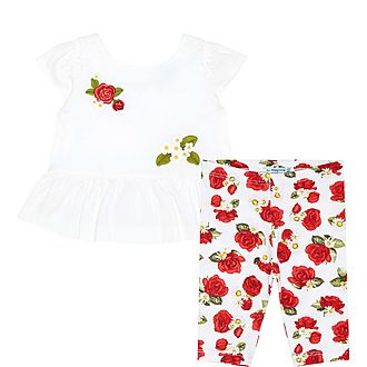 Two-Piece Rose Top And Leggings Set Baby