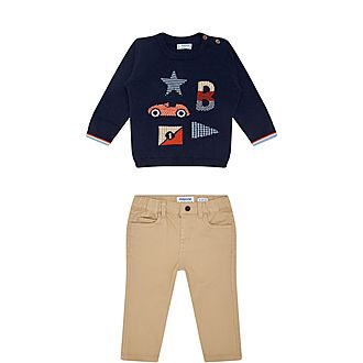 Two-Piece Knitted Car Sweater and Chino Set