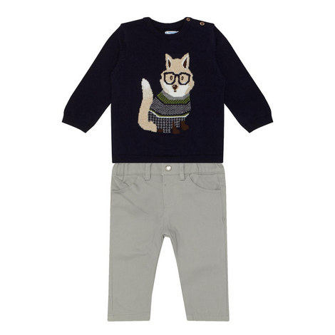 Two-Piece Fox Jumper and Trousers Set, ${color}
