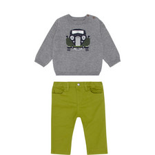 Two-Piece Car Sweater and Trousers Set
