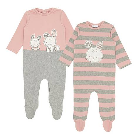 Two-Piece Bunny Print Cotton Rompers, ${color}