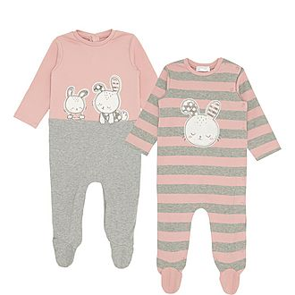 Two-Piece Bunny Print Cotton Rompers