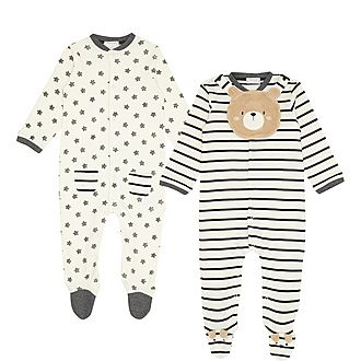 Two-Piece Teddy Bear Cotton Rompers
