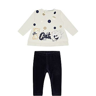 Two-Piece Cat Sweater and Bottoms Set
