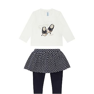 Two-Piece Dance Shoe Top, Skirt and Leggings Set