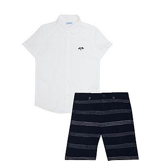 Two-Piece Flag Shirt & Striped Shorts Set