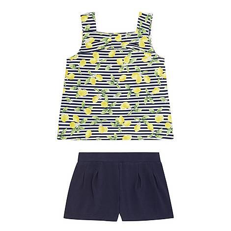 Two-Piece Lemon T-Shirt & Shorts Set, ${color}