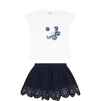 Two-Piece Floral Sequin T-Shirt & Skirt Set