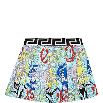 Baroque Floral Pleated Skirt