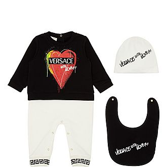 Three-Piece Heart Bodysuit, Hat and Bib Set