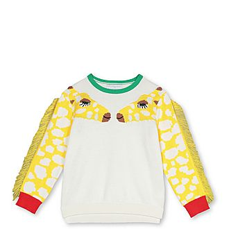 Giraffe Intarsia Fringe Sweater