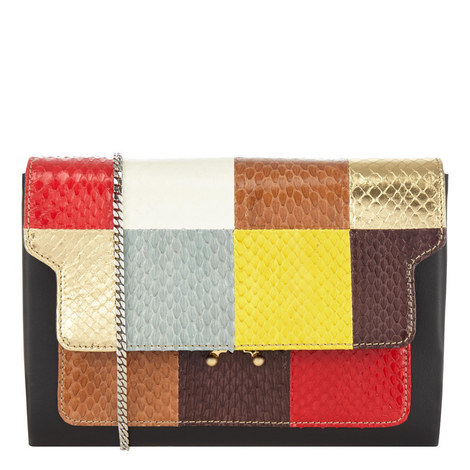 Patchwork Chain Clutch Bag, ${color}