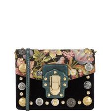 Lucia Button Velvet Shoulder Bag