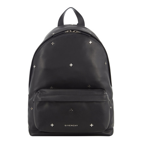 Cross Appliqué Leather Backpack, ${color}