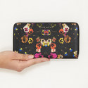 Pansy Print Zip Around Wallet, ${color}