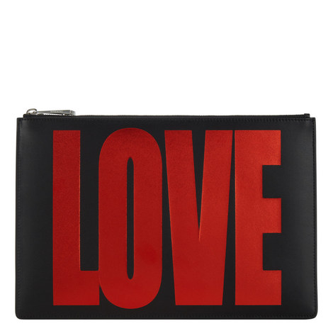 Love Print Leather Zip Pouch, ${color}