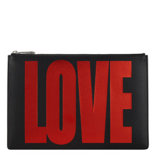 Love Print Leather Zip Pouch