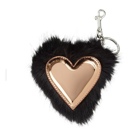 Faux Fur Heart Keyring, ${color}
