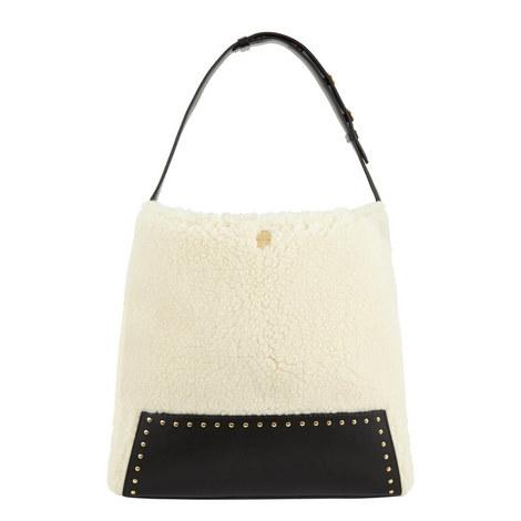 Studded Faux Shearling Hobo Bag, ${color}