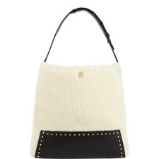 Studded Faux Shearling Hobo Bag
