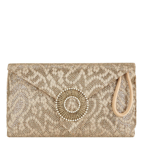 Edith Lace Print Glitter Clutch, ${color}