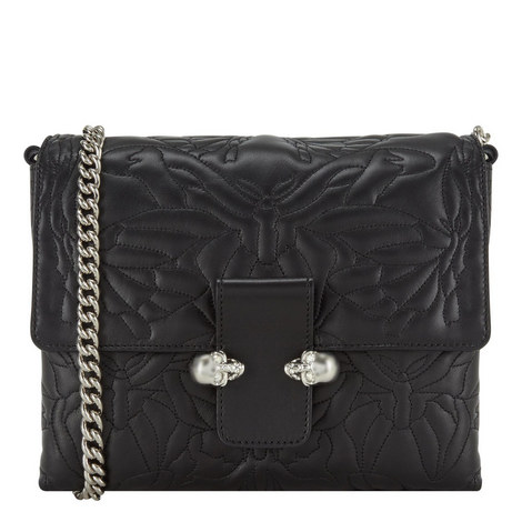 Twin Skull Quilted Satchel, ${color}