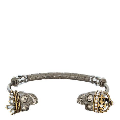 Skull Detail Open Bracelet, ${color}