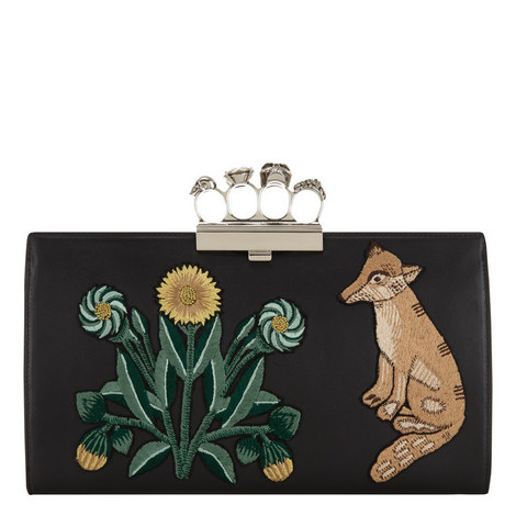 Embellished Animal Leather Pouch, ${color}