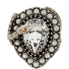 Crystal Pearl Snake Ring